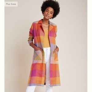 Anthropologie Jackets & Coats - NWT Anthropologie plaid Sierra linen duster Jacket